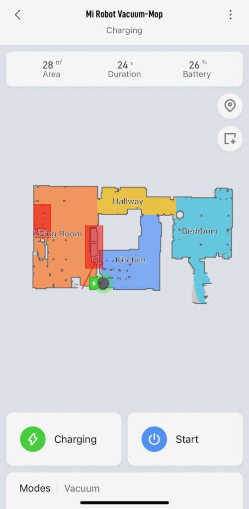 Robotdammsugare har skapat en karta över lägenheten.