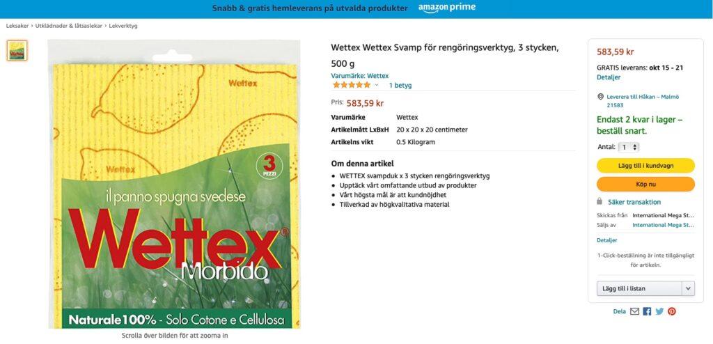 Rövarpris på Wettexdukar hos Amazon.